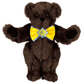 """15"""" """"Get Well"""" Bow Tie Bear - Standing jointed bear dressed in yellow bow tie with blue trim; """"Get Well Soon"""" is embroidered on floral center - long Espresso brown fur image number 5"""