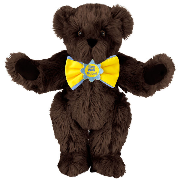 """15"""" """"Get Well"""" Bow Tie Bear - Standing jointed bear dressed in yellow bow tie with blue trim; """"Get Well Soon"""" is embroidered on floral center - long Espresso brown fur image number 7"""