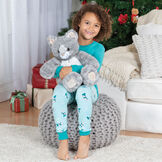 "18"" Oh So Soft Kitten - Front view of 18"" gray Kitten being hugged by a girl in pajamas sitting in a living room setting image number 7"