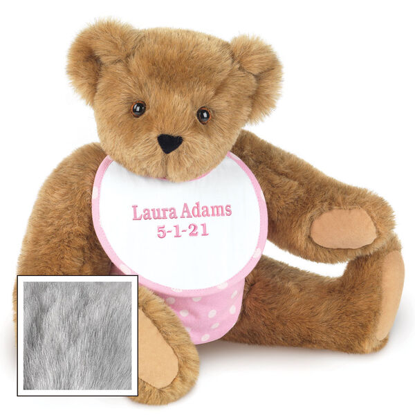 """15"""" Baby Girl Bear - Seated jointed bear dressed in pink with white dots fabric diaper and bib. Bib with """"Laura Adams"""" and """"5-1-21"""" in light pink lettering - Gray fur image number 6"""
