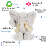 "13"" Cuddle Cub Elephant Bear with Bow - Front view of gray elephant with cream velvet bow with text that says, ""100"" Recycled Stuffing; Guaranteed for Life; Embroidered Features; Extra Huggable Body; Premium Fur; Velvet Bow"" image number 2"