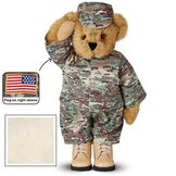 """15"""" Camouflage Bear - Front view of Standing jointed beardressed in a digital camoflage military outfit with American flag on the bear's right sleevewith """"Kennedy"""" personalized on the left chest - Buttercream brown fur image number 1"""