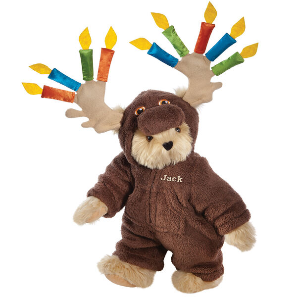 """15"""" Moose Be Your Birthday! Bear - Front view of standing jointed bear dressed in a brown hoodie footie with birthday candles on the tan antlers personalized with """"Jack"""" on left chest in gold lettering - Maple brown fur image number 6"""