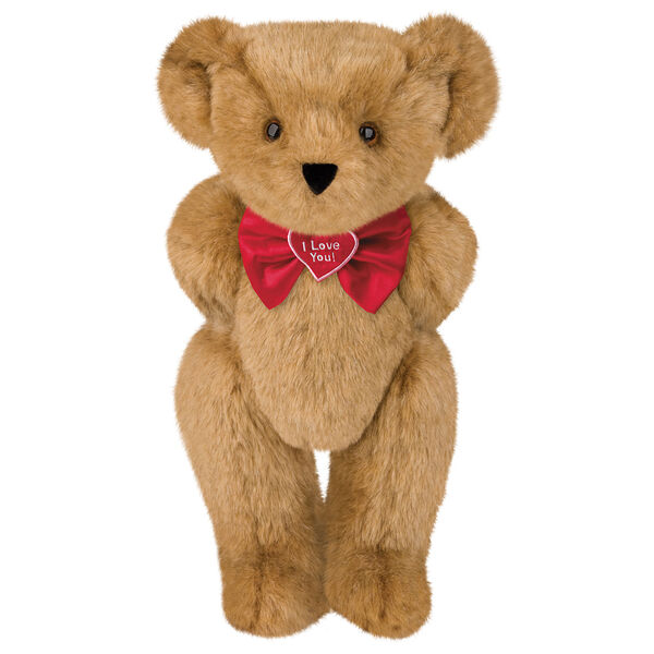 """15"""" """"I Love You"""" Bow Tie Bear - Standing jointed bear dressed in red satin bow tie; """"I Love You""""  is embroidered on red satin heart center - Honey brown fur image number 0"""
