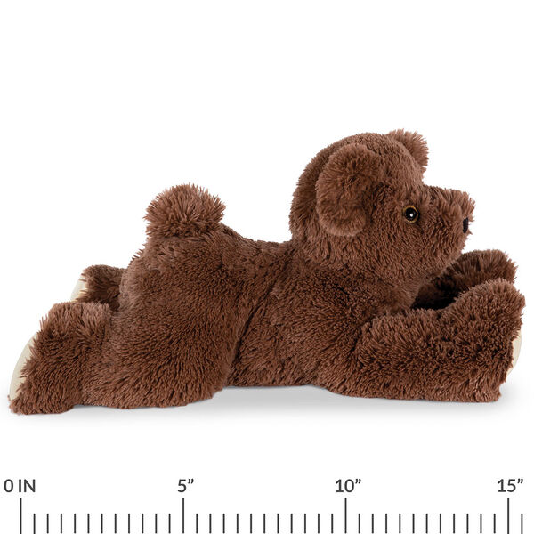 "15"" Belly Bear - Side view of German Chocolate Bear lying on its belly with a ruler below it that measures 15"".  image number 5"