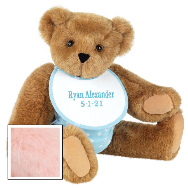"""15"""" Baby Boy Bear - Seated jointed bear dressed in light blue with white dots fabric diaper and bib. Bib with """"Ryan Alexander"""" and """"5-1-21"""" in light blue lettering - Pink fur image number 7"""
