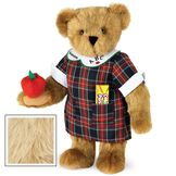 """15"""" Teacher Bear - Standing jointed bear dressed in a navy plaid dress with white teacher collar, colored pencils in the pocket and holding a fabric apple. Collar embroidered with """"ABC""""and personalized with """"Susan"""" in black - Maple brown fur image number 6"""