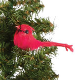 """15"""" Limited Edition Woodland Santa Bear - Close up of red cardinal in Christmas tree image number 5"""