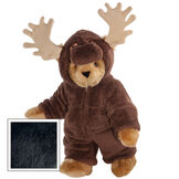 "15"" Moose Bear - Front view of standing jointed bear dressed in a brown hoodie footie with tan antlers  - Black fur image number 3"