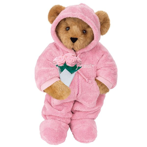"""15"""" Hoodie Footie Bear with Roses - Front view of standing jointed bear dressed in pink hoodie footie and holding pink bouquet of roses personalized with """"Emily"""" in white on left chest - Honey brown fur image number 0"""