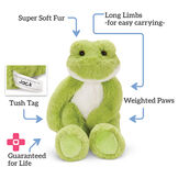 """15"""" Buddy Frog - Front view of seated plush green slim frog with text that reads, """"Super Soft Fur, Ling Limbs for easy carrying, Weighted Paws, Guaranteed for Life, and Tush Tag."""" image number 2"""