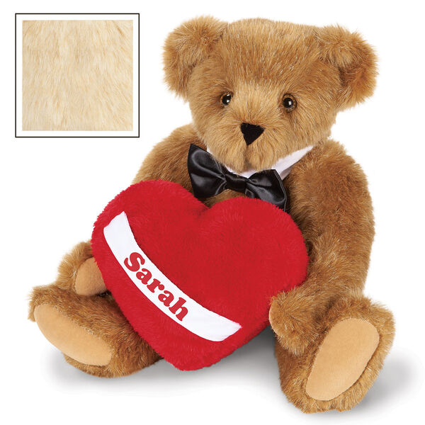 """15"""" Romantic at Heart Bear - Seated jointed bear with tuxedo collar and plush heart pillow, which is personalized with """"Sarah"""" - buttercream image number 3"""