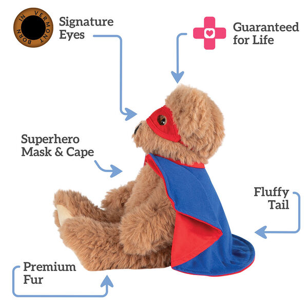 "13"" Super Soft Super Hero Bear - Side view of seated Almond Brown Bear in red Super Hero mask and blue and red cape.  Text reads, ""Signature Eyes; Guaranteed For Life; Fluffy Tail;  Premium Fur; Superhero Mask and Cape"".  image number 3"