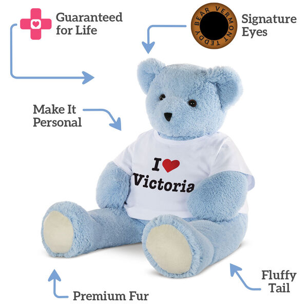 "4' ""I Heart You"" T-Shirt Blue Cuddle Bear image number 4"
