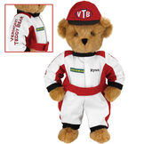 """15"""" Racecar Driver Bear - Front view of standing jointed bear dressed in red and white racing suit and hat with """"Vermont Teddy Bear"""" on sleeve, """"Good Bear"""" on chest and """"VTB"""" on hat. Personalized with """"Ryan"""" on in black - Honey brown fur image number 0"""