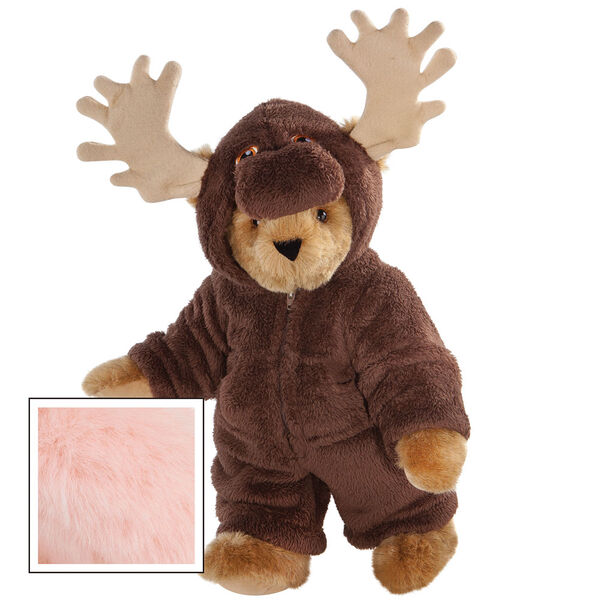 """15"""" Moose Bear - Front view of standing jointed bear dressed in a brown hoodie footie with tan antlers  - Pink image number 5"""