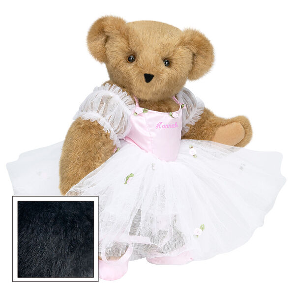 """15"""" Ballerina Bear - Standing jointed bear dressed in pink satin and tulle dress and ballet slippers. Center front of dress is personalized with """"Hannah"""" in bright pink lettering - Black fur image number 3"""