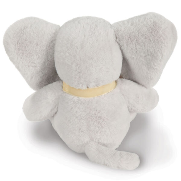 "13"" Cuddle Cub Elephant Bear with Bow - Back view of gray elephant with cream velvet bow image number 7"