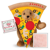 """15"""" Pizza My Heart Bear - Front view of standing jointed bear dressed in a pizza slive costume holding a pizza box that says """"You have a pizza my heart"""", personalized with """"Jessica"""" on the crust in red - Pink image number 5"""