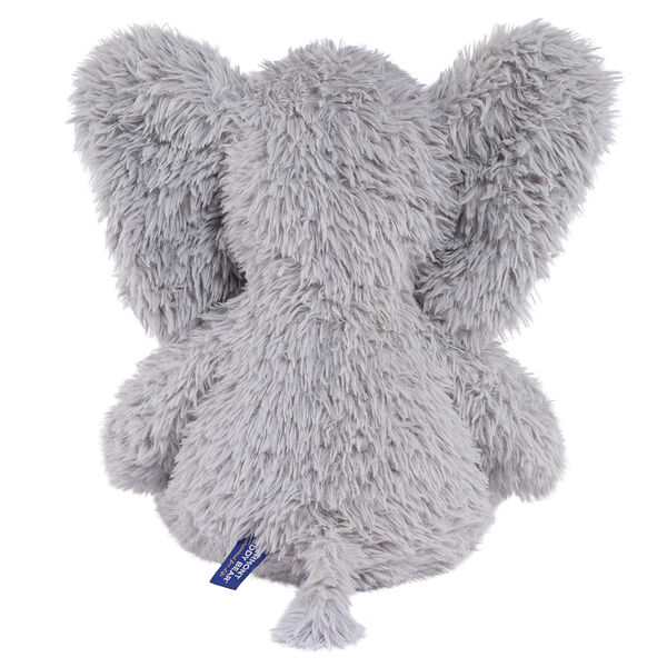 """18"""" Oh So Soft Elephant - Back view of seated gray Elephant with gray foot pads and white tusks and toe nails image number 6"""