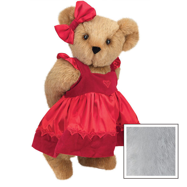"""15"""" Sweetheart Teddy Bear - Three quarter view of standing jointed bear dressed in red velvet and satin dress and hair bow with heart lace trim and heart applique on front of dress - Gray image number 4"""