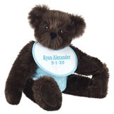"""15"""" Baby Boy Bear - Seated jointed bear dressed in light blue with white dots fabric diaper and bib. Bib with """"Ryan Alexander"""" and """"5-1-20"""" in light blue lettering - Espresso brown fur image number 7"""