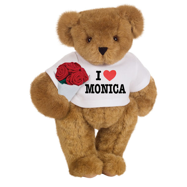"""15"""" """"I HEART You"""" Personalized T-Shirt Bear with Roses - Standing Jointed Bear in white t-shirt that says I """"Heart"""" You in black and red lettering holding a red rose bouquet- Honey brown fur image number 0"""
