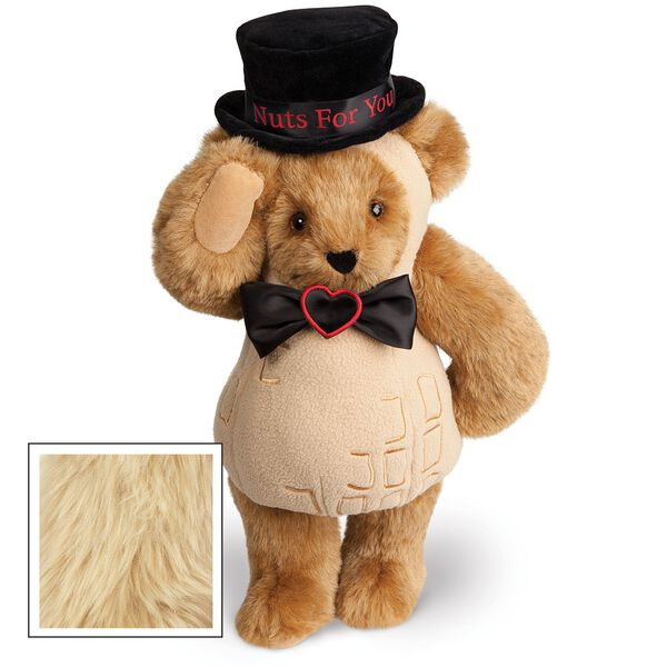 """15"""" Nuts for You - Front view of standing jointed bear dressed in a tan peanut costume with black bow with black top hat that says """"Nuts for You"""" in red on black satin band - Maple brown fur image number 4"""