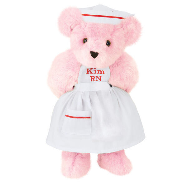 """15"""" Nurse Bear - Front view of standing jointed bear dressed in white nurse's dress and hat with red trim perosnlized with """"Kim RN"""" on bib of dress in red - Pink fur image number 5"""