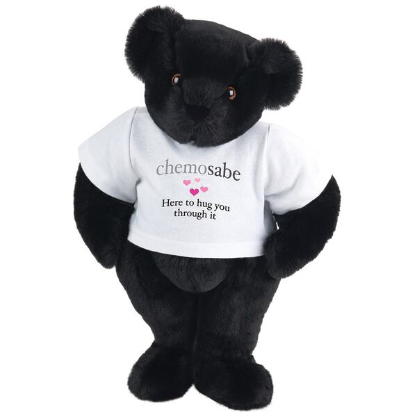 "15"" Chemosabe T-Shirt Bear - Standing jointed bear dressed in white t-shirt with gray and pink graphic with hearts that says, ""chemosabe, Here to hug you through it"" - Black fur image number 3"