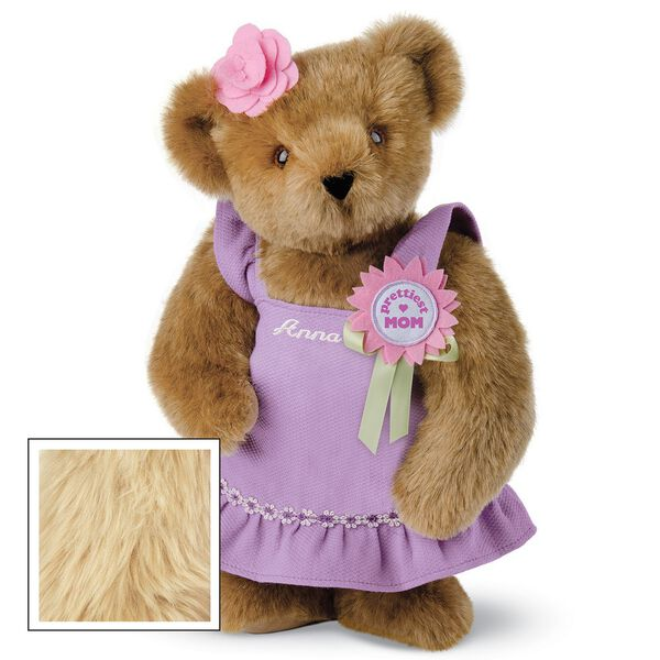 """15"""" Prettiest Mom Ever Bear - Front view of standing jointed bear dressed in a lilac sundress with felt flower pin that says """"Prettiest Mom"""" in pink and pink flower on ear. Dress is personalized with """"Anna"""" in cream on front - Buttercream brown fur image number 6"""