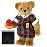 """15"""" Teacher Bear - Standing jointed bear dressed in a navy plaid dress with white teacher collar, colored pencils in the pocket and holding a fabric apple. Collar embroidered with """"ABC""""and personalized with """"Susan"""" in black - Black fur image number 3"""