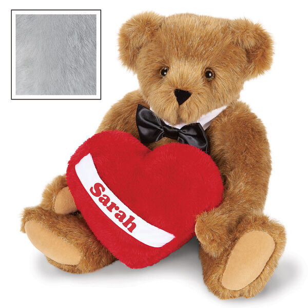 """15"""" Romantic at Heart Bear - Seated jointed bear with tuxedo collar and plush heart pillow, which is personalized with """"Sarah"""" - Gray image number 6"""