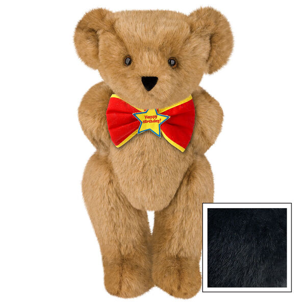 "15"" ""Happy Birthday"" Bow Tie Bear - Standing jointed bear dressed in red bow tie with yellow trim; ""Happy Birthday"" is embroidered on Star center - Black image number 3"
