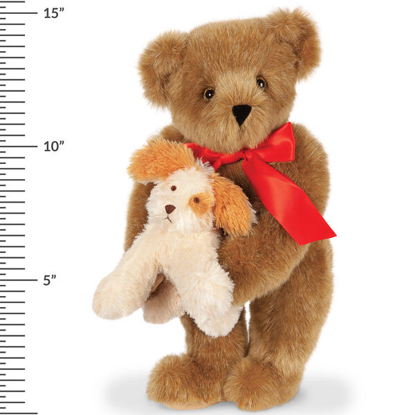 """15"""" Puppy Love Bear - 15"""" Standing Bear wearing a red satin bow and comes with plush puppy and has a measurement of 15"""" next to it image number 2"""