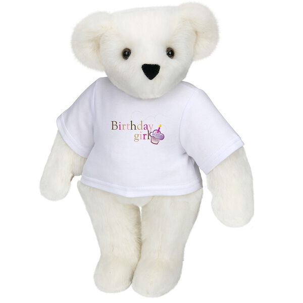 """15"""" Birthday Girl T-Shirt Bear - Standing jointed bear dressed in white t-shirt with colorful graphic that says, """"Birthday Girl' with purple cupcake and one candle - Vanilla white fur image number 2"""
