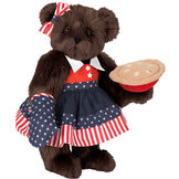 """15"""" All American Mom Bear - Standing jointed bear in a red, white and blue stars and stripes dress with matching head bow and oven mitt holding an apple pie - Espresso brown fur image number 7"""
