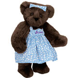 "15"" Mother Bear - Three quarter view of standing jointed bear dressed in blue floral dress and hair bow personalized with ""Susan"" in purple on bodice of dress - Espresso brown fur image number 8"