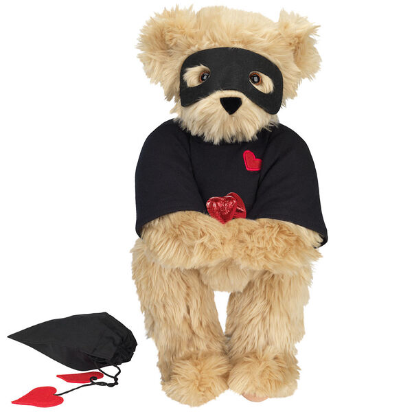 """15"""" Love Bandit Bear - Front view of standing jointed bear dressed in black turtleneck with red heart on left chest, black mask and holding a black bag with 2 chocolates - Maple brown fur image number 6"""