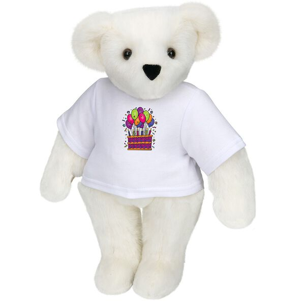 """15"""" Birthday T-Shirt Bear - Standing jointed bear dressed in white t-shirt with colorful birthday cake and balloons - Vanilla white fur image number 2"""