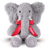 """18"""" Oh So Soft Elephant - Front view of seated gray Elephant with gray foot pads and white tusks and toe nails wearing a red satin bow with tails personalized with """"Cassie"""" in white lettering image number 2"""