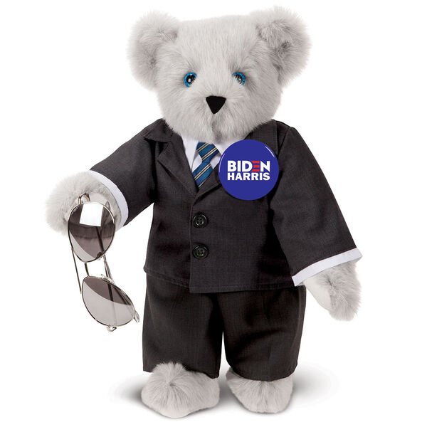 "15"" Joe Biden Bear - Standing Gray Bear with Blue eyes, black suit, blue tie, aviator glasses, and campaign pin image number 0"