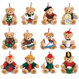 "12 Days of Christmas Ornaments-4"" lt brown bears holding: Partridge in Pear Tree, 2 Turtle Doves, French Hen, 4 Calling Birds, 5 Golden Rings, Goose Laying, Swan Swimming; Maid Milking, Lady Dancing, Lord Leaping, Piper piping, Drummer drumming.  image number 0"