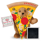 """15"""" Pizza My Heart Bear - Front view of standing jointed bear dressed in a pizza slive costume holding a pizza box that says """"You have a pizza my heart"""", personalized with """"Jessica"""" on the crust in red - Black image number 3"""