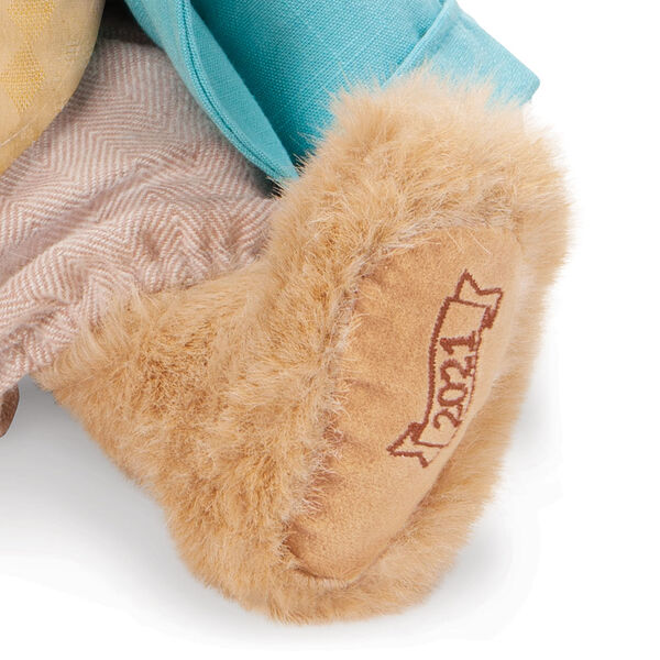 """16"""" Limited Edition Easter Bunny - close up of bunny's left foot, embroidered with """"2021"""" in brown image number 3"""