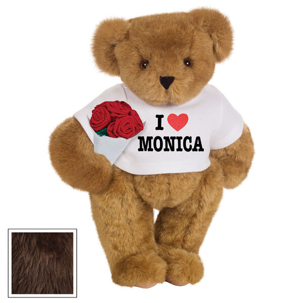 """15"""" """"I HEART You"""" Personalized T-Shirt Bear with Roses - Standing Jointed Bear in white t-shirt that says I """"Heart"""" You in black and red lettering holding a red rose bouquet - Espresso image number 8"""