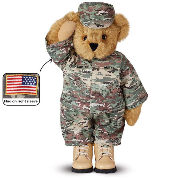 """15"""" Camouflage Bear - Front view of Standing jointed beardressed in a digital camoflage military outfit with American flag on the bear's right sleevewith """"Kennedy"""" personalized on the left chest - Honey brown fur image number 0"""