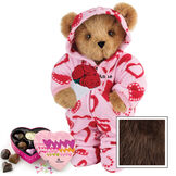 """15"""" Sweetheart Hoodie-Footie Bear with Red Roses and Chocolates - Standing jointed bear dressed in pink and red heart hoodie footie with rose bouquet and 6 pc. chocolates. Personalized with """"Anne"""" in black on left chest - Espresso image number 7"""