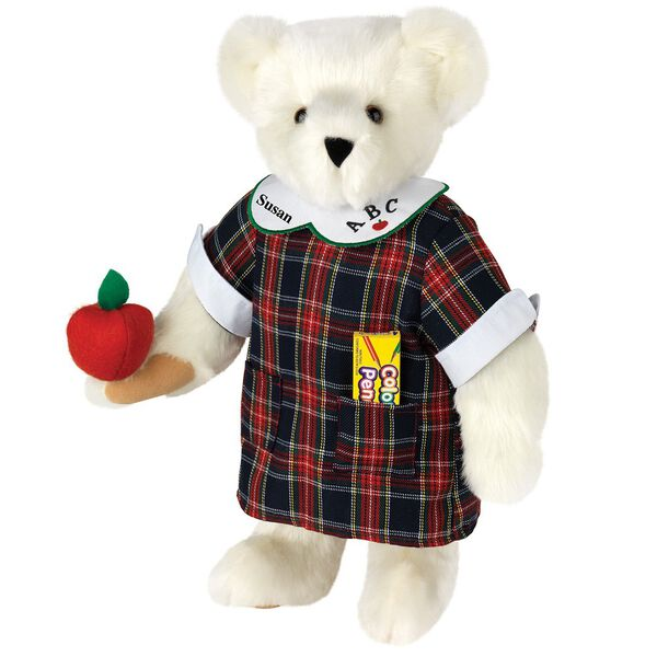 """15"""" Teacher Bear - Standing jointed bear dressed in a navy plaid dress with white teacher collar, colored pencils in the pocket and holding a fabric apple. Collar embroidered with """"ABC""""and personalized with """"Susan"""" in black - Vanilla white fur image number 2"""