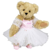 """15"""" Ballerina Bear - Standing jointed bear dressed in pink satin and tulle dress and ballet slippers. Center front of dress is personalized with """"Hannah"""" in bright pink lettering - Maple brown fur image number 4"""